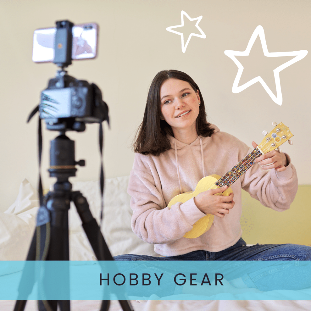 Teenage girl with ukulele in front of a camera