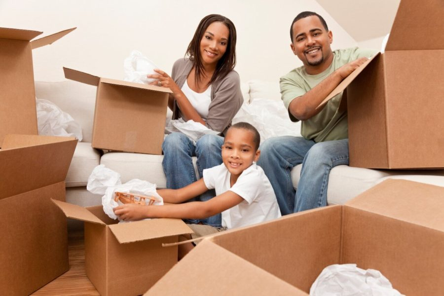 family packing for a move - how to declutter for a move