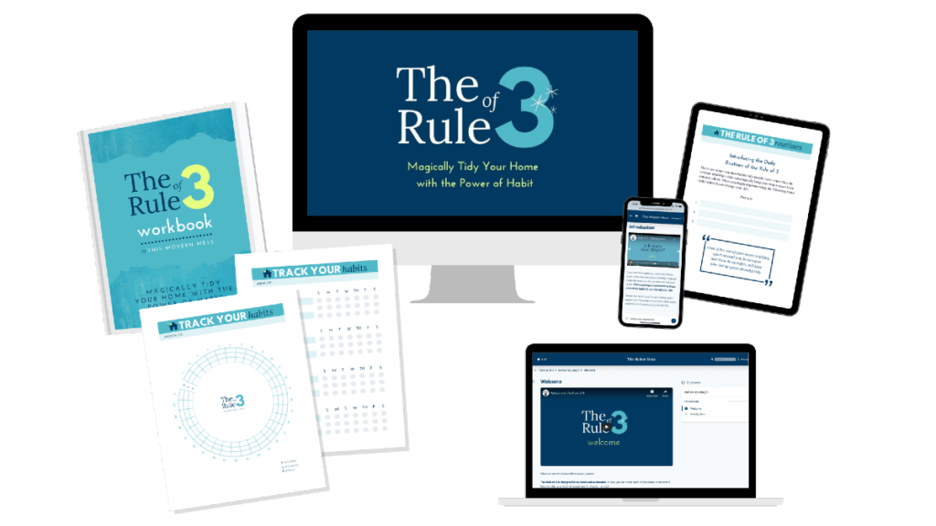 mockup of The Rule of 3 course and printables